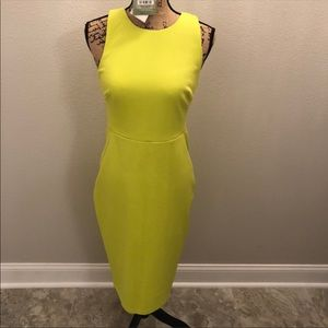 Chartreuse yellow body con dress